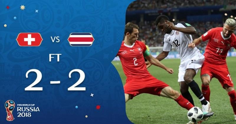 瑞士與哥斯大黎加2:2平手
