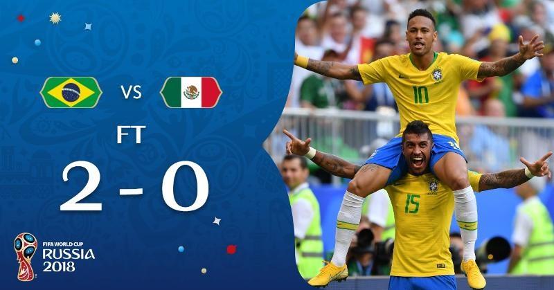 巴西2:0轟走墨西哥